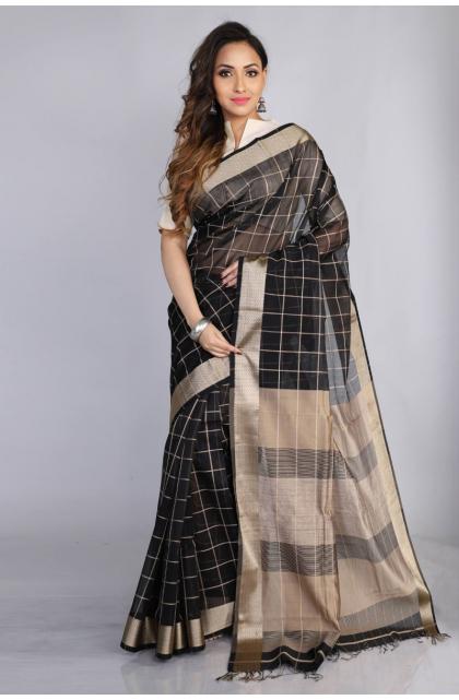 Black Maheshwari Silk Checkered Saree