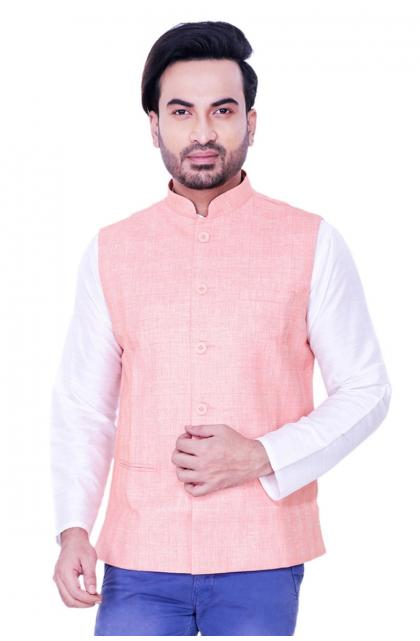 Peach Cotton Linen Ethnic Jacket