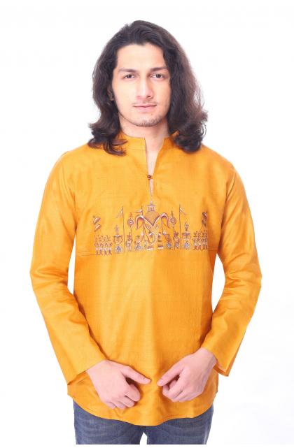 Yellow Embroidered Tussar Short Kurta