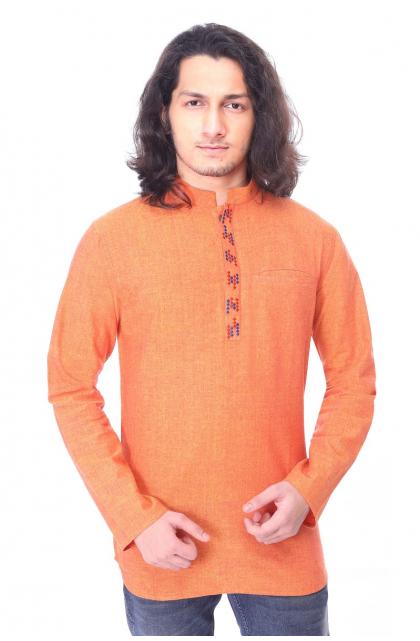 Orange Cotton Short Kurta