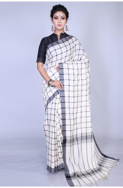 White Cotton Handloom Saree