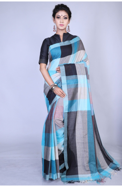 Multicolor Pure Cotton Checkered Saree