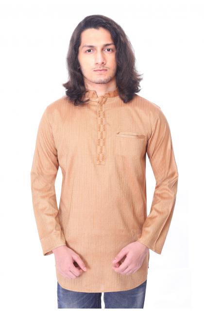 Beige Self Design Cotton Short Kurta