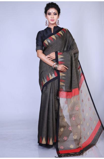 Grey Matka Silk Handloom Saree