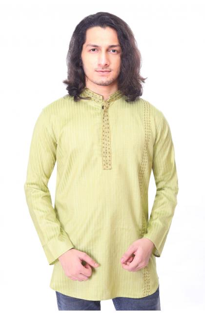 Light Green Embroidered Cotton Short Kurta
