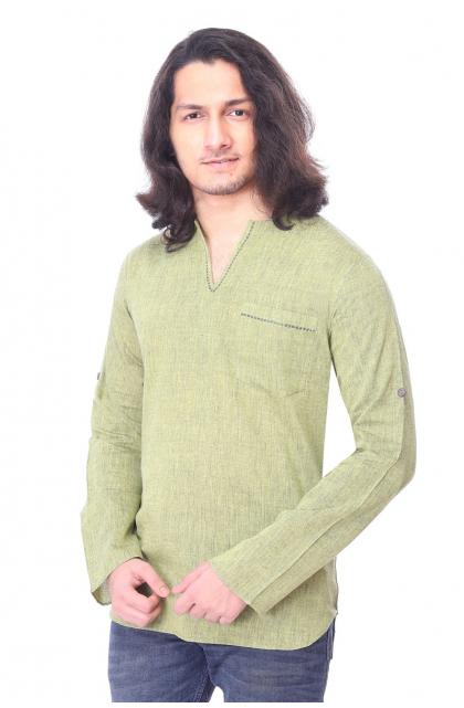 Light Green  Cotton Short Kurta