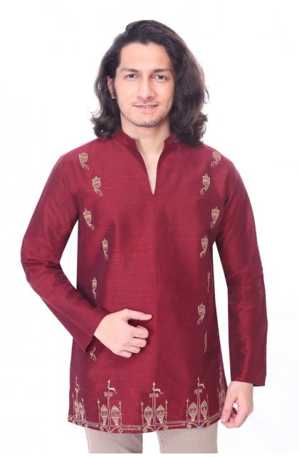 Maroon Embroidered  Cotton Slub Kurta