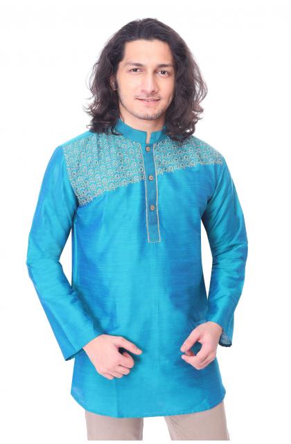 Blue Embroidered Cotton Silk Short Kurta