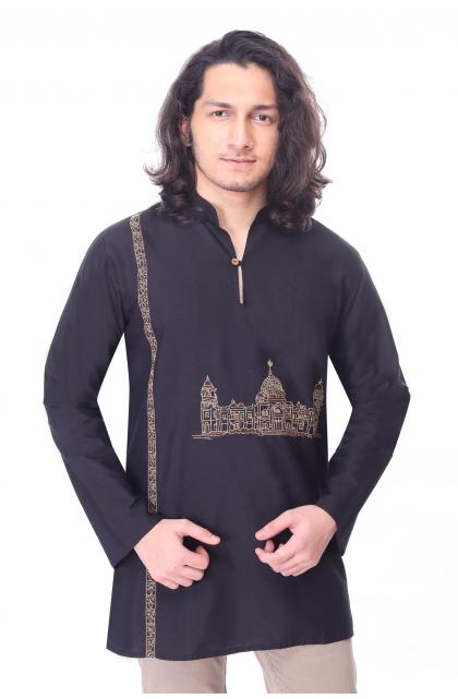Black Embroidered Cotton Silk Short Kurta