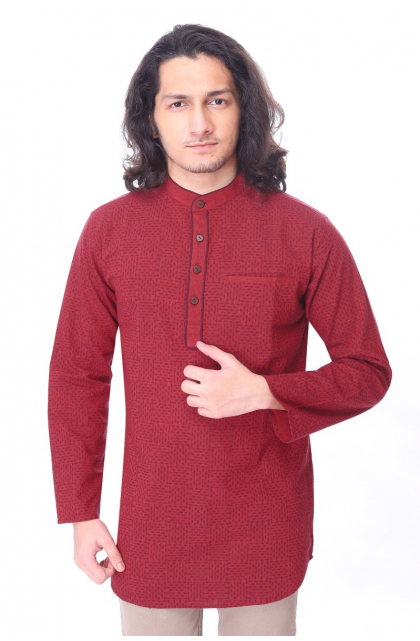 Maroon Khadi Cotton Printed Short Kurta