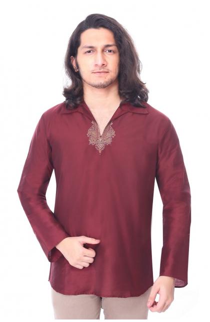 Maroon Embroidered Cotton Silk short Kurta