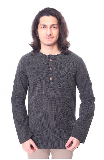 Black Cotton Short Kurta