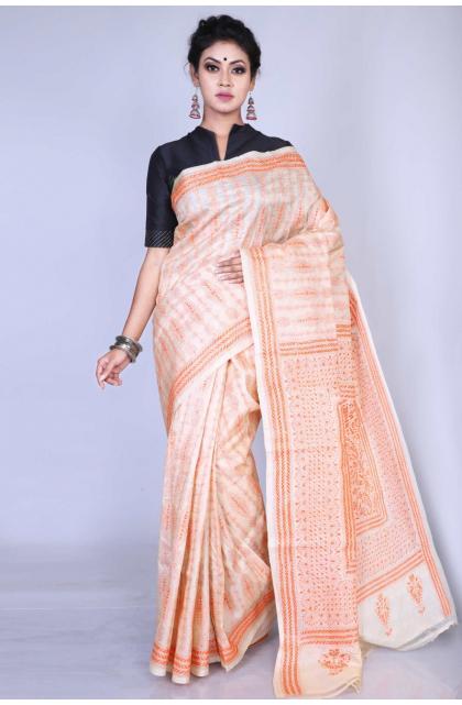 Beige Kantha Stitch Silk Saree