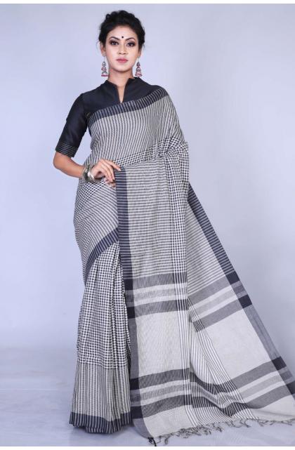 Black Pure Cotton Handloom Saree