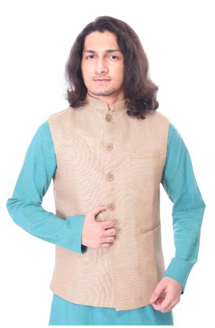 Beige Jute Cotton  Ethnic Jacket