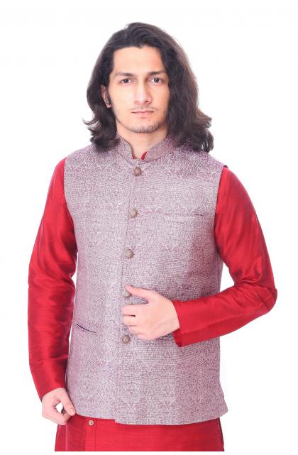 Purple Self Woven Jute Cotton Ethnic Jacket