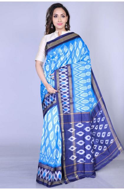 Blue Ikkat Silk Saree