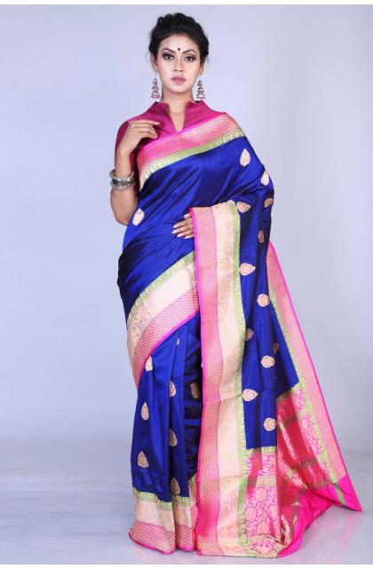 Dark Blue Katan Silk Saree
