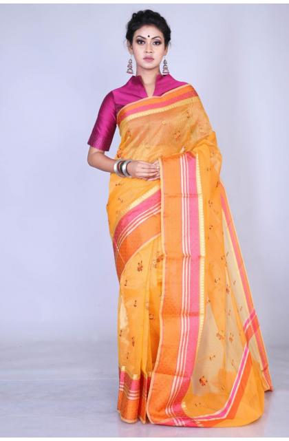 Yellow Embroidered Kota saree