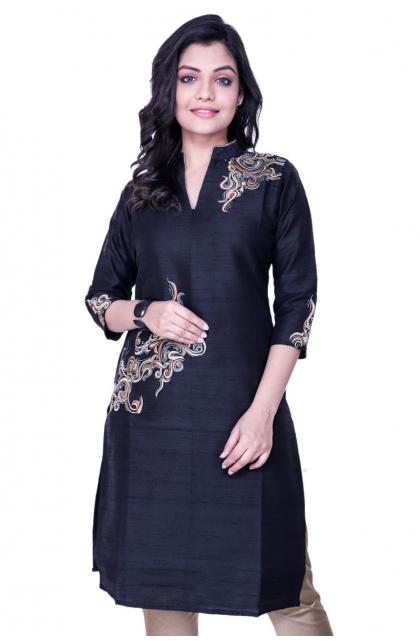 Black Raw Silk Embroidered Kurti