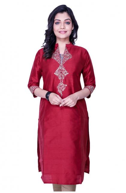 Red Raw Silk Embroidered Kurti
