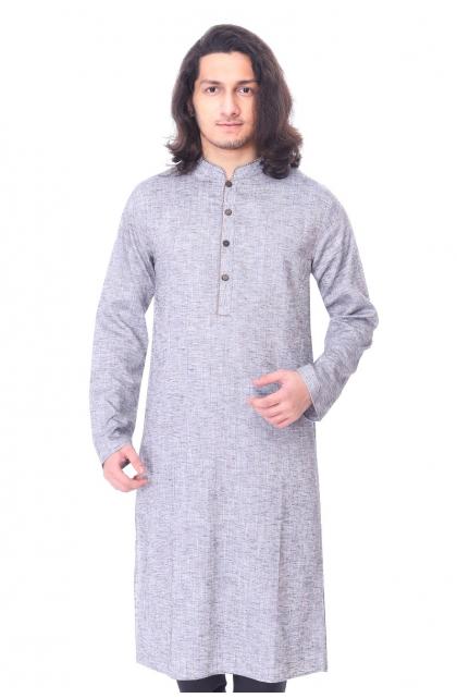 Grey Linen Long Kurta