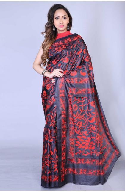 Black Kantha Stitch Silk Saree