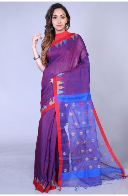 Purple Matka Silk Saree