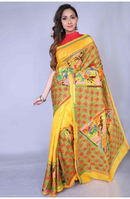 Yellow Kantha Stitch Silk Saree