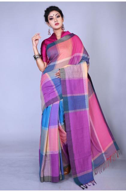Multicolor Pure Cotton Handloom Saree