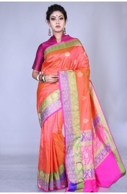 Peach Katan Silk Saree