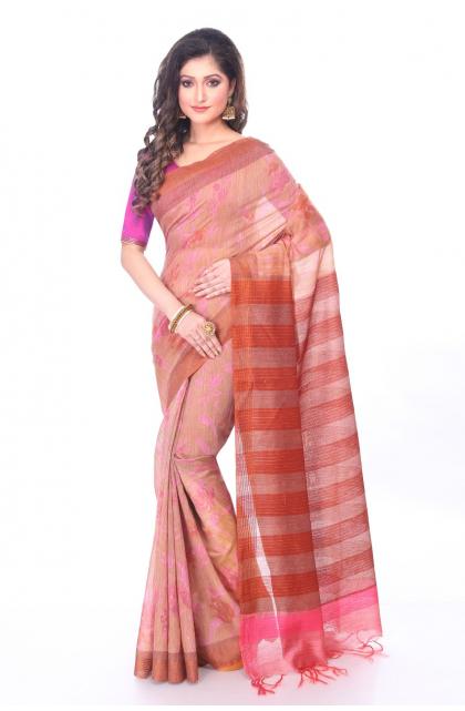 Linen Rust Printed Saree