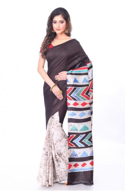 Black Batik Silk Saree