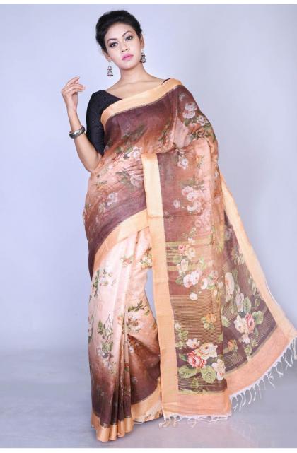 Brown Linen Digital Printed Saree