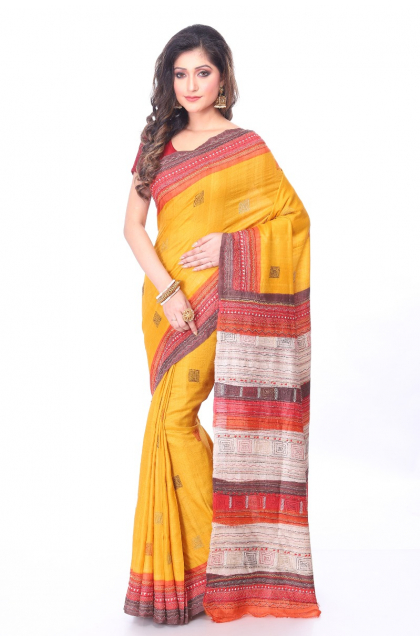 Yellow Kantha Stitch Tussar Saree
