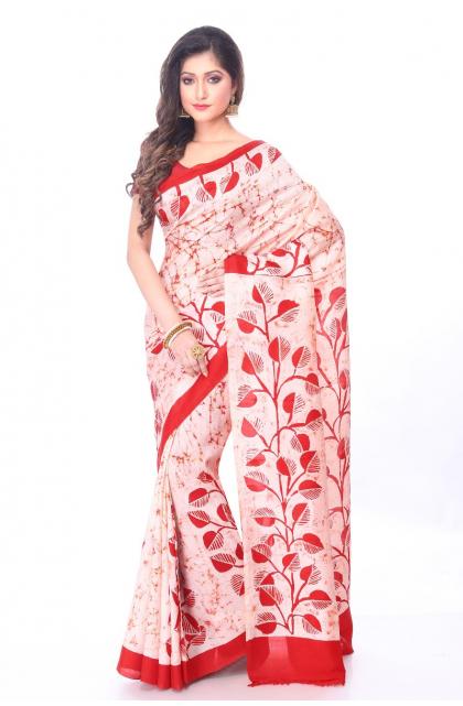 White Batik Silk Saree