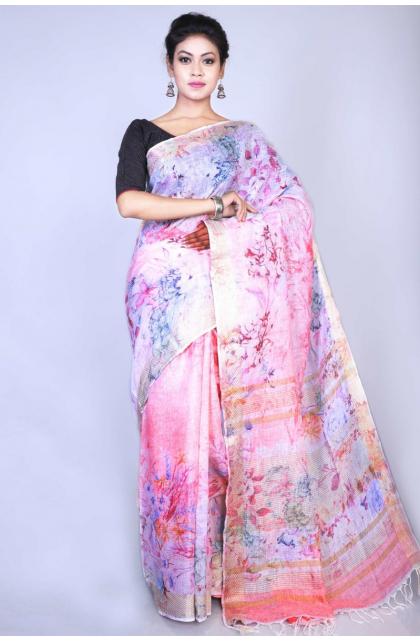 Pink Linen Digital Printed Saree