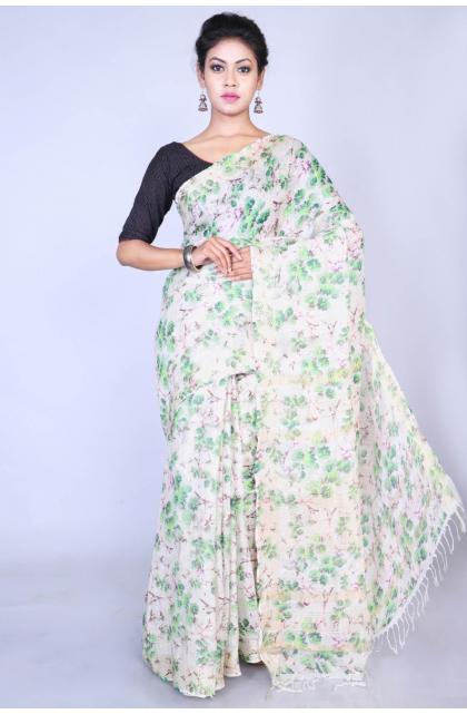 White Linen Digital Printed Saree