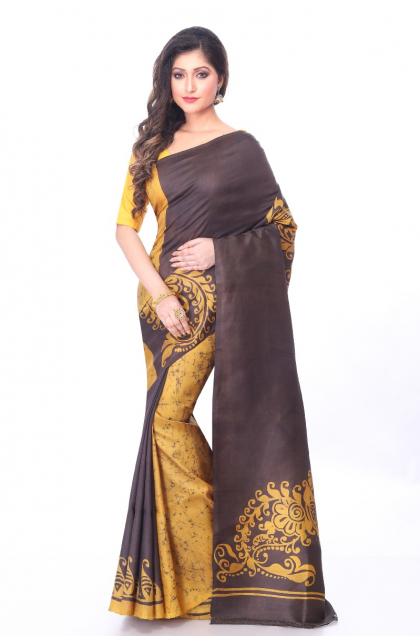 Yellow Batik Silk Saree