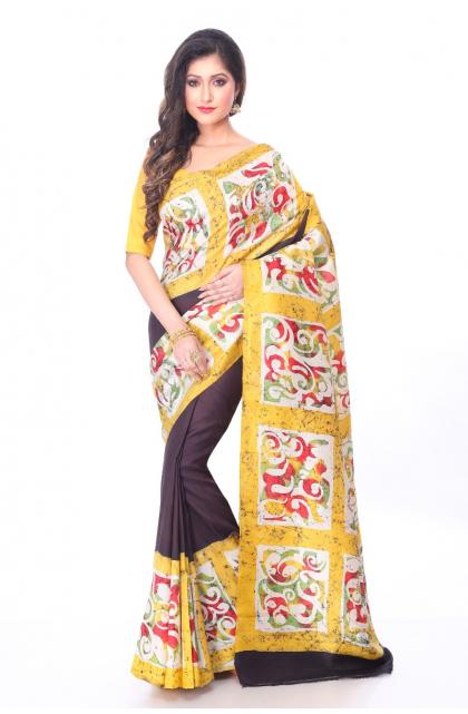 Black Silk Batik Saree