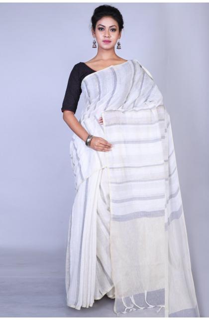 White Cotton Linen Blend Saree