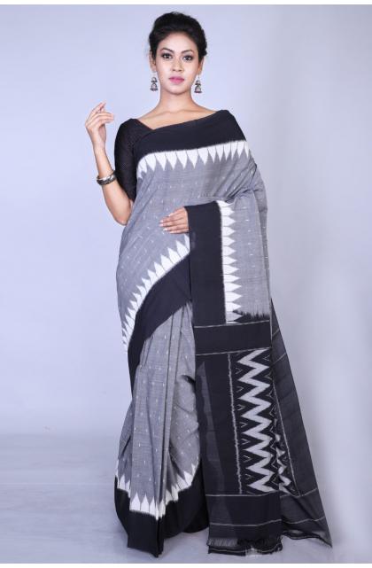 Grey Cotton Ikkat Saree