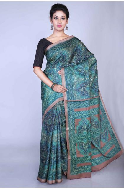 Green Dupion Silk Printed Saree