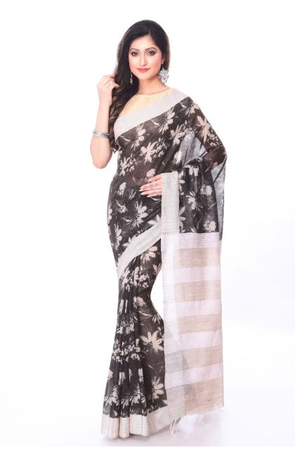 Black Linen Printed Saree