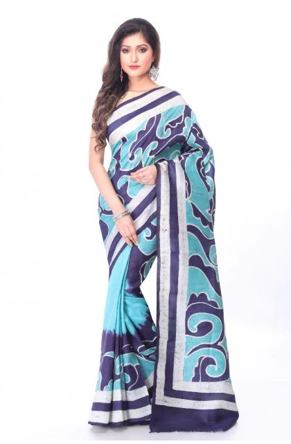 Sea Green Batik Silk Saree
