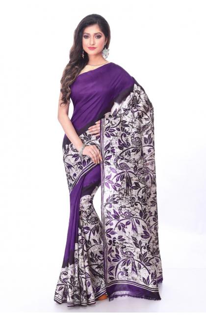 Violet Batik Silk Saree