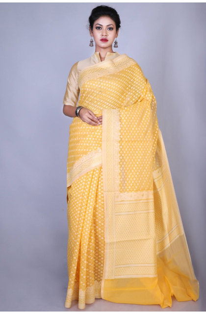 Yellow Chanderi Saree
