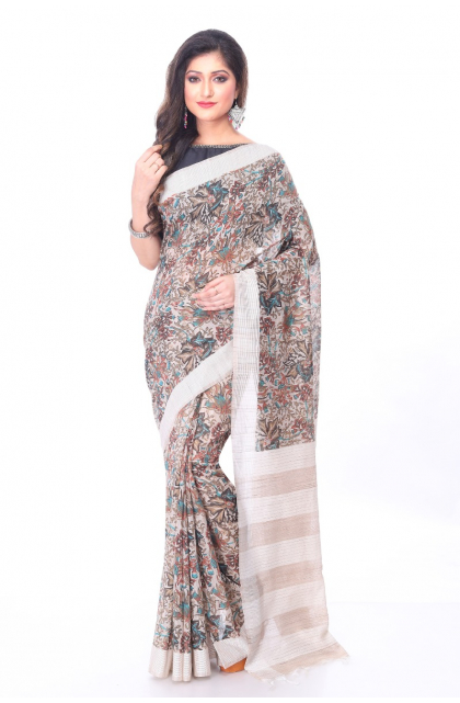 Beige Linen Printed Saree