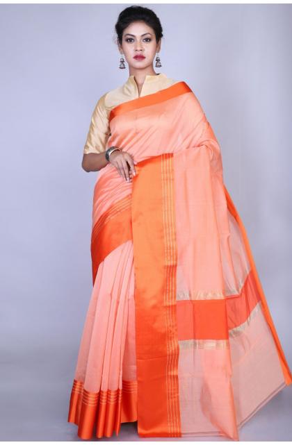 Orange Poly Chanderi Saree