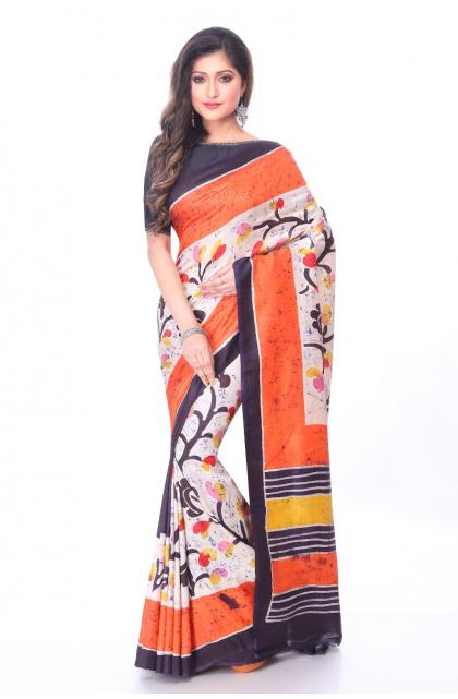 Multicolour Silk Batik Saree